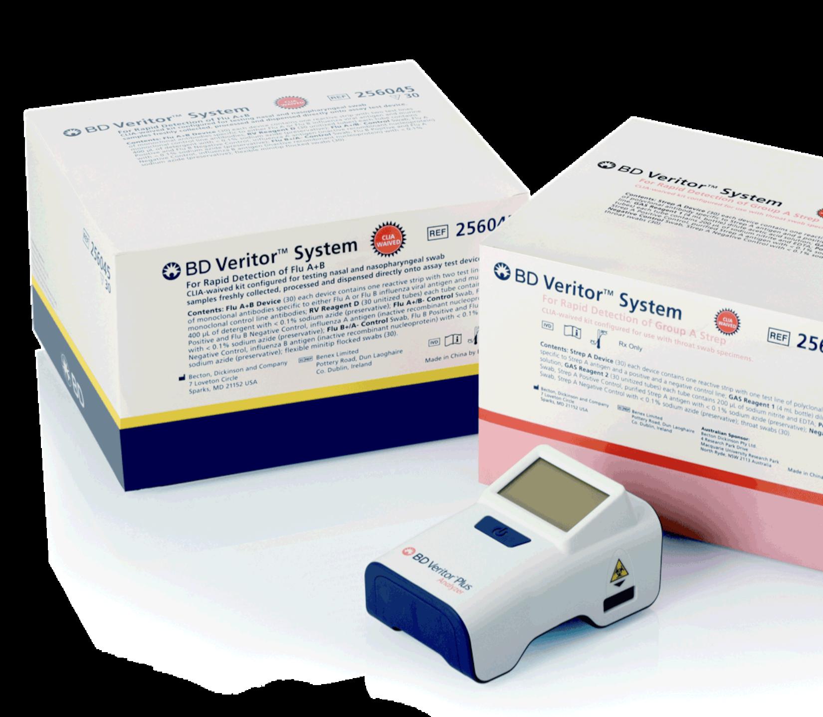 BD Veritor Flu A+B kit, BD Veritor Group A Strep kit, and the BD Veritor Plus Analyzer