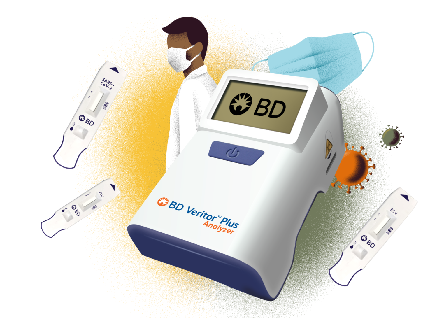 BD Veritor Plus, Medical Professional, Face Mask and virus illustration