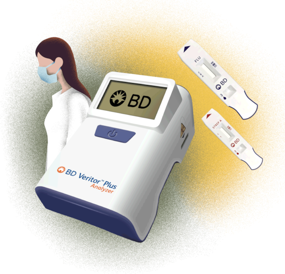 BD Veritor Plus, Assays, and Medical Professional illustration