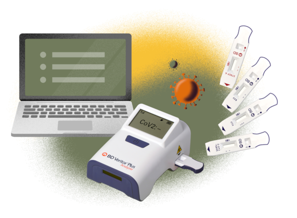 Computer, BD Veritor Plus, Assays and virus illustration