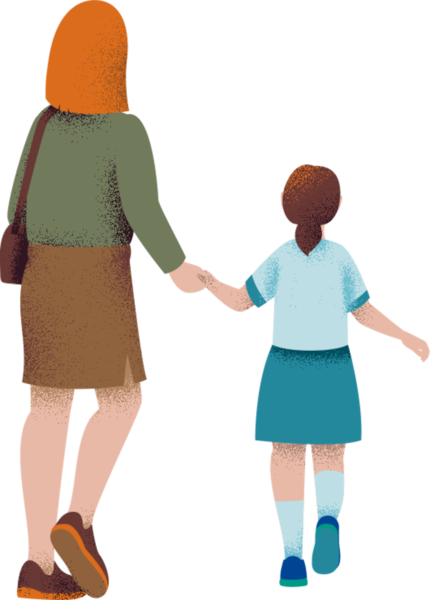 Image of mother and child walking