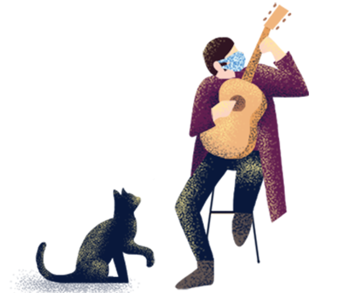 A person playing guitar with a cat at his feet