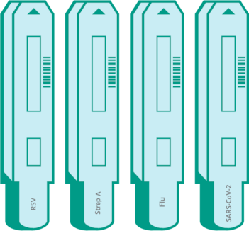 A drawing of four BD Veritor test devices