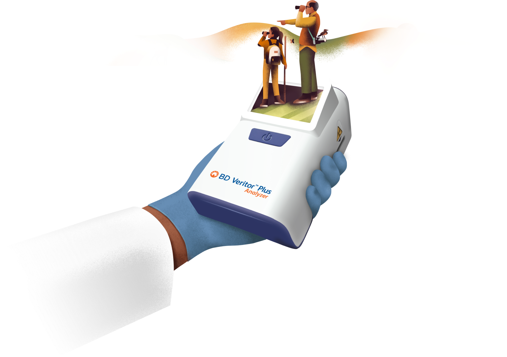 This image depicts a family enjoying life and a clinician's hand holding the BD Veritor Plus Analyzer